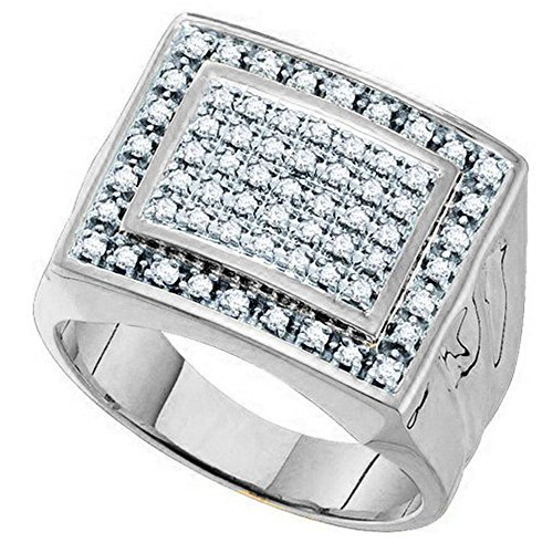 0.48 Carat (ctw) 10K White Gold Round Diamond Mens Cluster Ring Wedding Band 1/2 CT (Size 9.5)