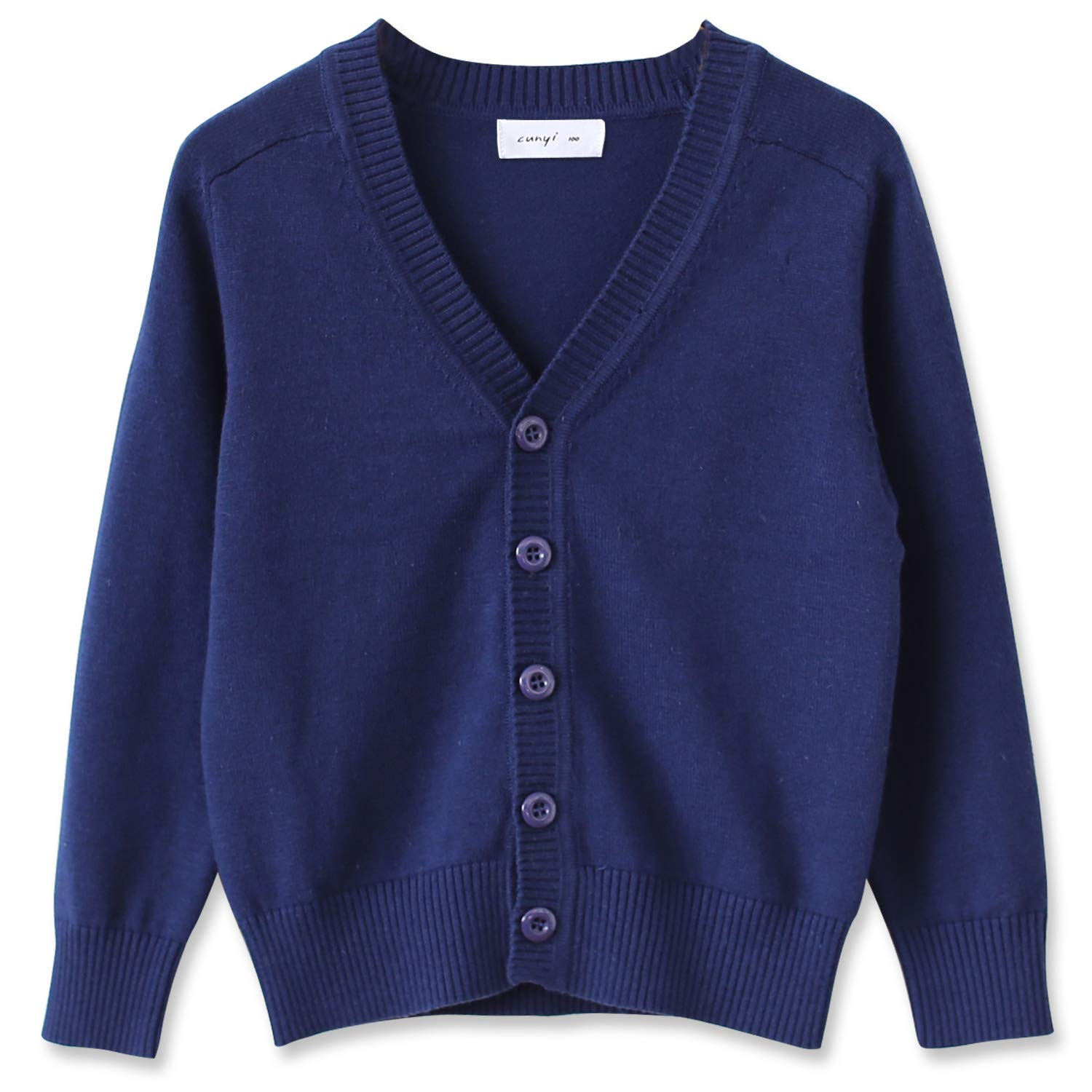 CUNYI Little Boys Button-up Cardigan V-Neck Cotton Knit Sweater Casual Outerwear, Dark Blue, 150