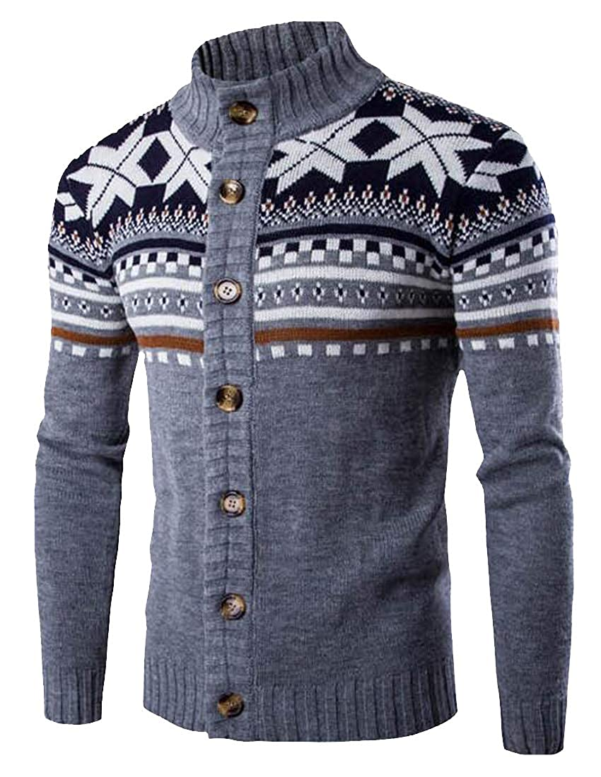 Hajotrawa Mens Casual Ethnic Style Knitted Button Up Print Cardigan Sweater
