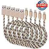 Antopos iPhone Charger 5Pack 3 FT Certified Nylon Lightning to USB Cord for iPhone iPad iPod
