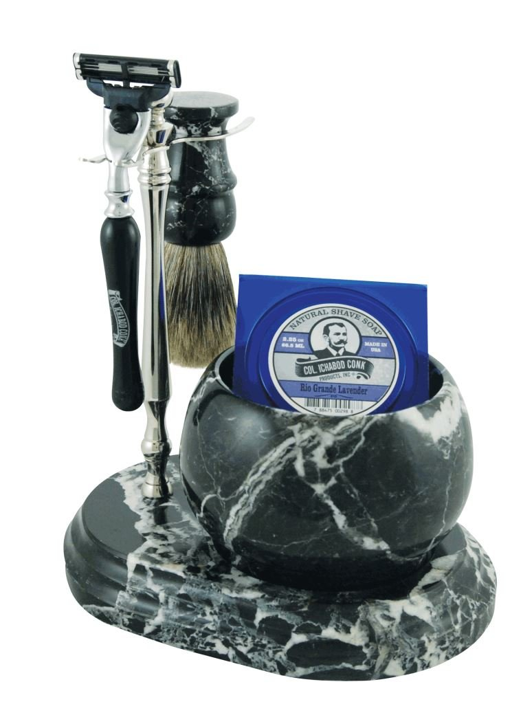Col. Conk Products No.251 Hand Crafted Shave Set, Black/Chrome 251-BC