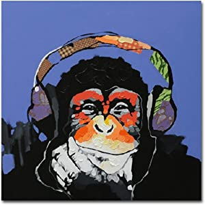 Muzagroo Art Oil Painting Monkey Art on Canvas Hand Painted for Home Decor Kids Room (16x16in)
