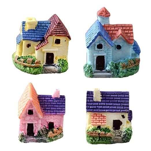Fancyku Mini Resin House Miniature House Fairy Garden Micro Landscape Plant Pots Bonsai Craft Micro Landscape DIY Decor Random 2 Pcs