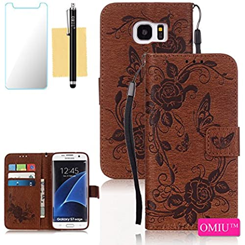 Galaxy S7 Edge Case,S7 Edge Case, OMIU(TM) Wallet PU Leather Embossed Butterfly Case with Credit ID Card Slots for Samsung Galaxy S7 Edge-Brown Sales