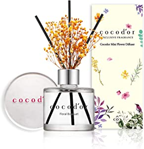 Cocodor Mini Flower Reed Diffuser / Floral Bouquet / 1.6oz(50ml) / 1 Pack / Fragrance Decor for Cars Cubicles, Small Rooms and Home, Diffuser Oil Sticks Gift Set