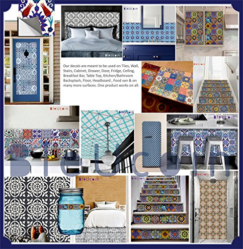 Moroccan Blue Dusk Tile Stickers Kitchen And Bathroom Backsplash Tile  ,Wall, Floor Decal, Stair Riser Stickers ...