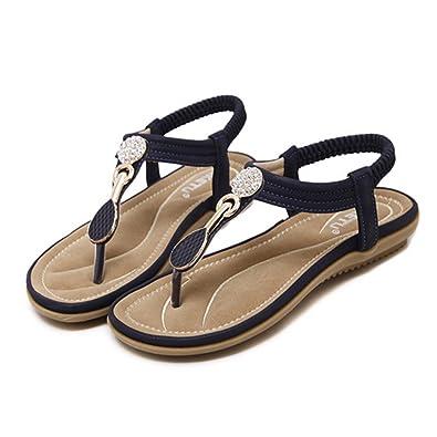 b38e422a1 Camfosy Women Flat Summer Sandals Slip On Clip Toes Flip Flops Rhinestone  Backless Slippers Walking Peep