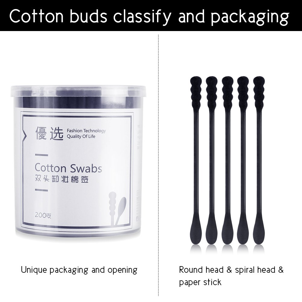 Lameila 200Pcs Cotton Swabs Black Double Tipped Cotton Buds Spiral Head Multipurpose Safe Highly Absorbent Hygienic Cleaning Sterile Sticks