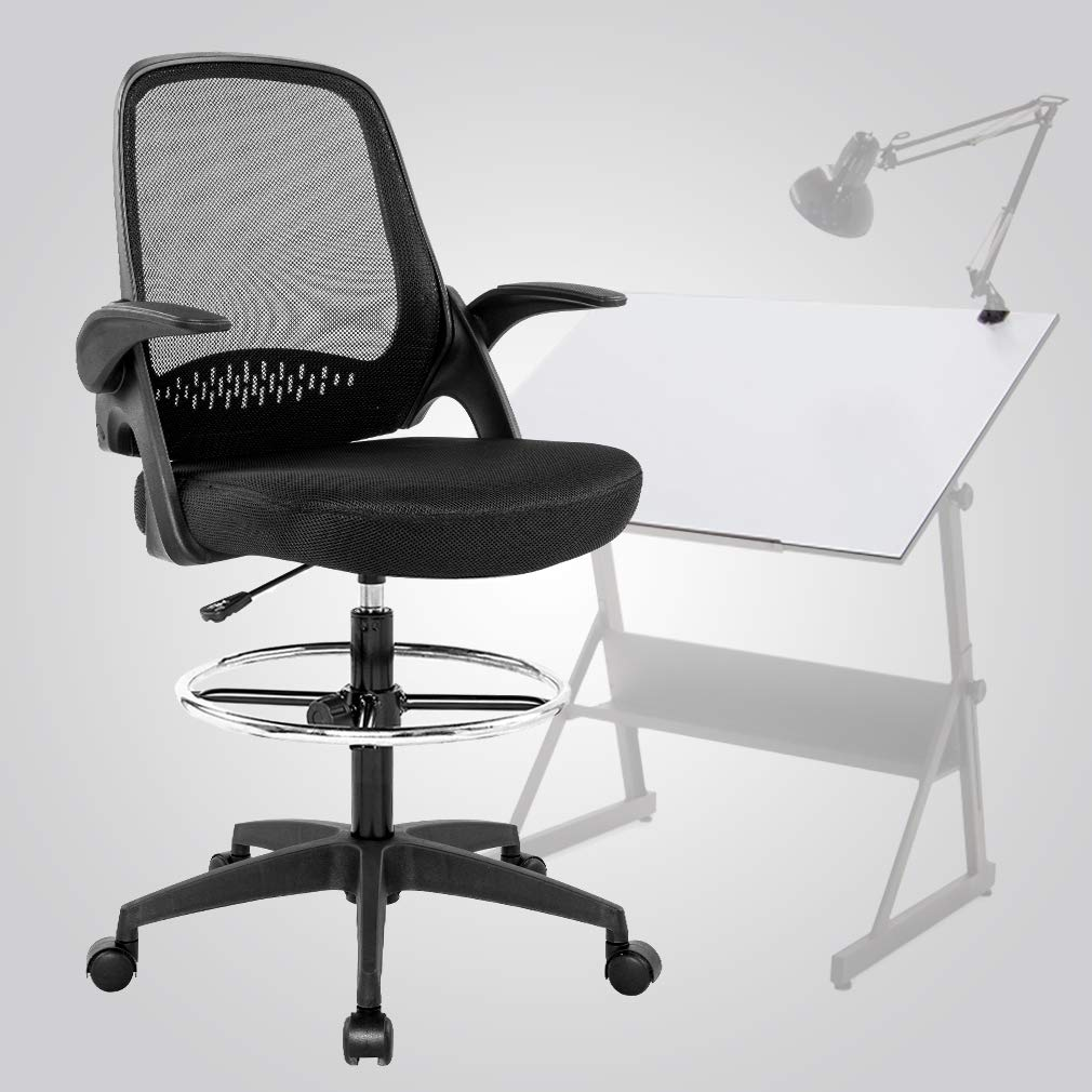 Ergonomic Mid-Back Mesh Drafting Chair with Lumbar Support Flip-Up Arms Desk Computer Adjustable Swivel Rolling Home Tall Office Chair for Women,Men(Black)