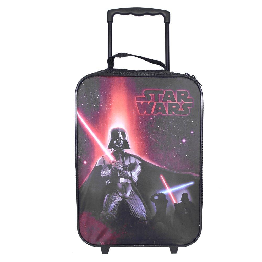 Trolley Enfant Star Wars - Valise avec Darth Vader - Bagage à Main à roulettes pour Garçon - La Guerre des étoiles - Rouge et Noir - 41x29x12 cm - Perletti 13804