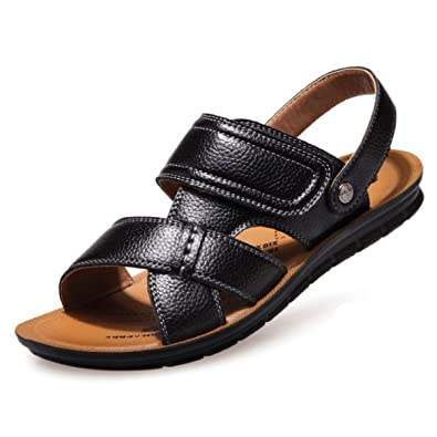 4bbcad6b4e1f Koyi Men s Casual Peep-Toe Youth Beach Sandals with New Summer Leather  Slippers