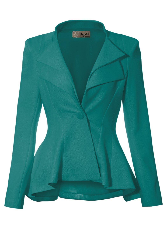 HyBrid & Company Women Double Notch Lapel Office Blazer JK43864 1073T Jade M