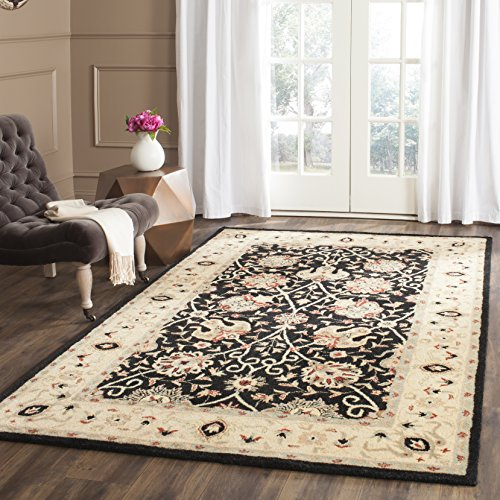 Safavieh Antiquities Collection AT21B Handmade Traditional Oriental Black Wool Area Rug 6 x 9