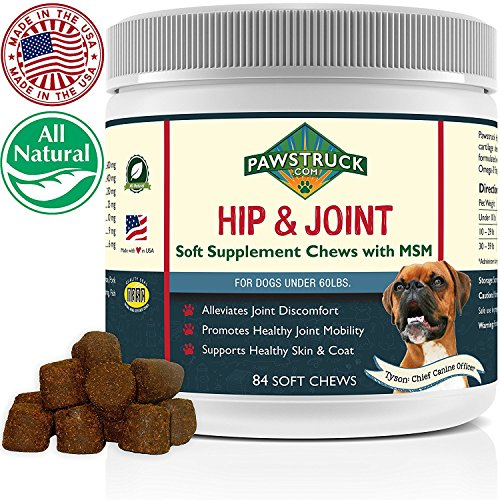 Natural Hip and Joint Supplement for Dogs in Bulk - Soft Chew Pain Relief & Prevention, Glucosamine For Dogs w/ Chondroitin & MSM for Healthy Canines, Made in USA (Small & Medium Dogs - 84 Count) ()