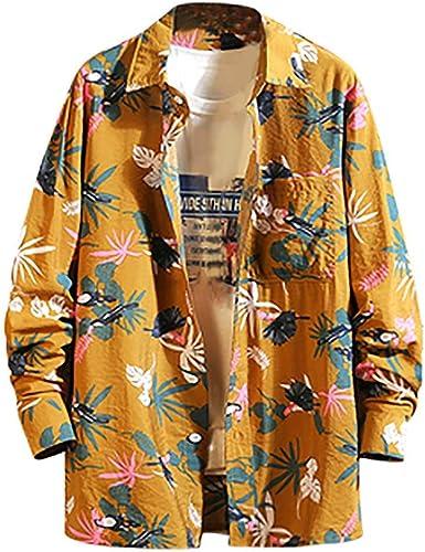 waotier Camisa Hawaiana Camisetas Hombre Otoño Casual Estampado Floral Suelto Botón Solapa Camisa Manga Larga Chaquetas: Amazon.es: Ropa y accesorios