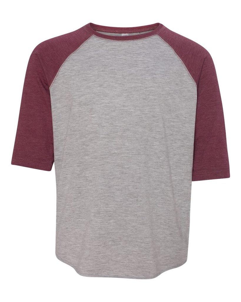 Kids Youth Baseball Fine Jersey Raglan 3/4 Sleeve Shirt, Heather/Burgundy, Med by Buy Cool Shirts (Image #1)