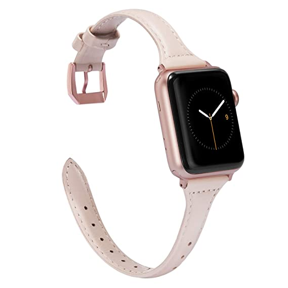 Wearlizer Womens Slim Pink Leather Compatible for Apple Watch Band 38mm  40mm for iWatch Sports Thin 42ade2008