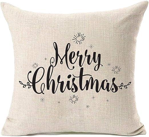 """18/"""" Merry Christmas Pillow Case Cotton Linen Sofa Throw Cushion Cover Home Decor"""