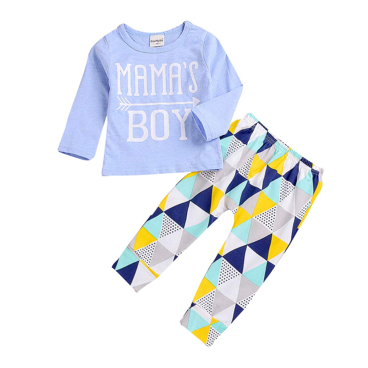 Baby Boys Summer Mama's Boy Long Sleeve T-Shirt Tops + Geometric Pants Clothes Set (Blue, 12-18 Months)