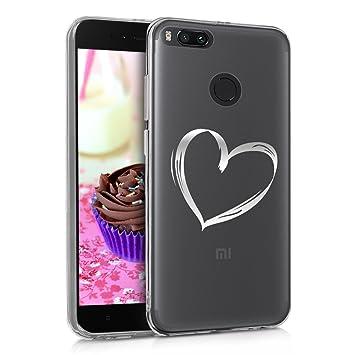 kwmobile Funda para Xiaomi Mi 5X / Mi A1 - Carcasa Protectora de [TPU] con diseño Dibujo de corazón en [Plata/Transparente]