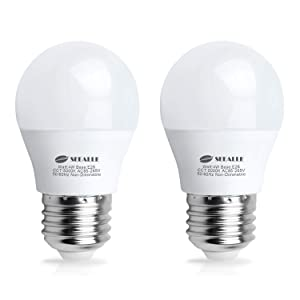 Waterproof LED Refrigerator Light Bulb 4 Watt, Seealle Freezer Bulbs, A15 E26 Medium Base Fridge Light Bulb, 40 Watt Equivalent 120V, Daylight White, Not-Dim (Pack of 2)