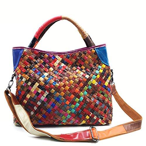à cuir Véritable 7 Sac Main sac à Coloré Totes Multi bandoulière Zongsi Couleur Bandoulière Sacs Couleur à en Grand Femmes qIXzqHxY