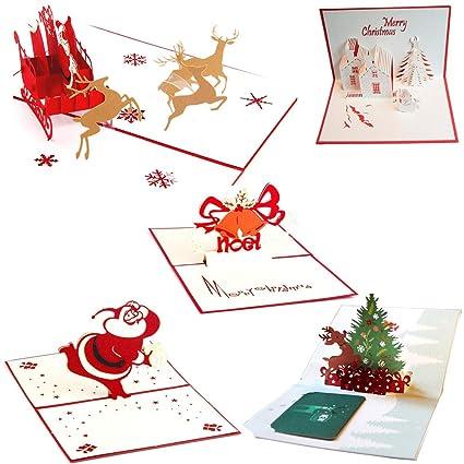 Uniqstore 5 piezas de felicitación de Navidad 3D Pop Up ...