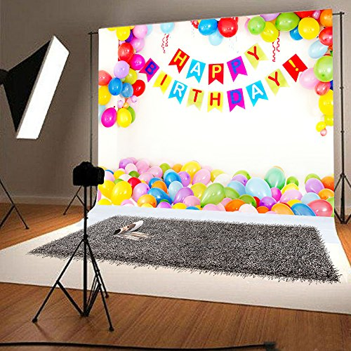 7x5ft Happy Birthday Photo Backdrop White Backgrounds Colorful Balloons Photography Backdrops for Babies Photo Studio YY00203