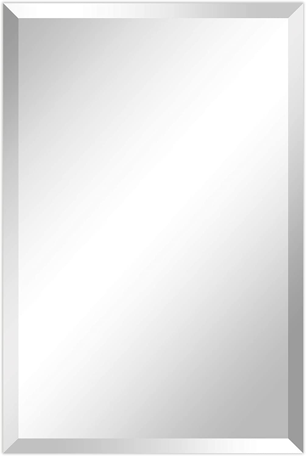 """Empire Art Direct Wall, Frameless Prism Panel,1""""-Beveled Edge Modern Mirror for Bathroom,Vanity,Bedroom,Ready to Hang, 20"""" x 30"""", Clear"""