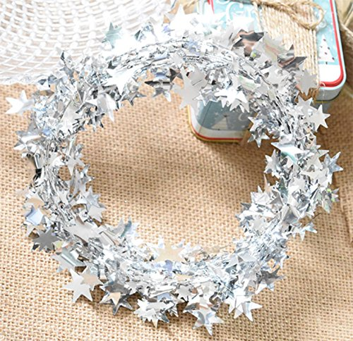 Festive Decorations - Yesier 25 FT Star Tinsel Garlands with Wire Christmas Tree Party Decoration Festive Ornament, Silver, 2 Pack