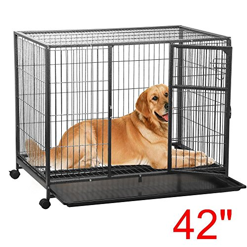 go2buy Heavy Duty Dog Cage Crate Kennel with Tray and Wheels, 42 inch, Black
