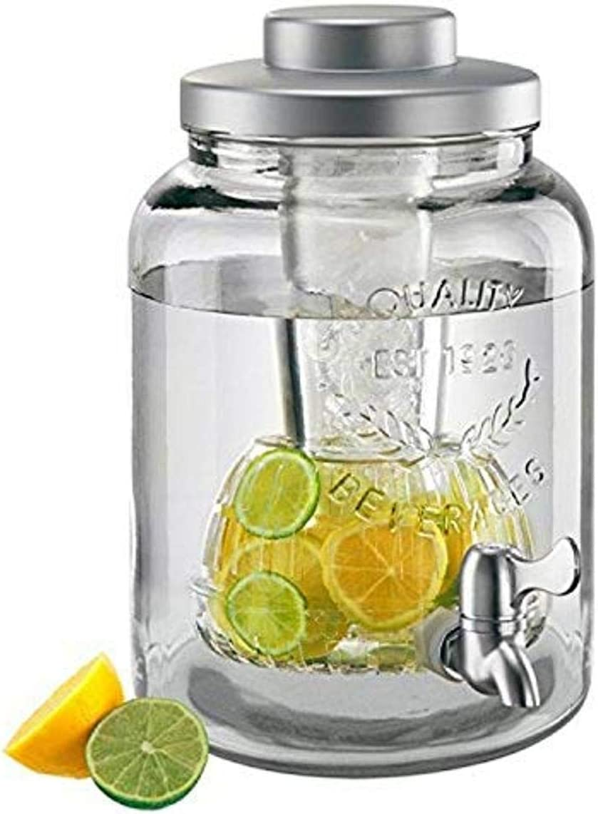 Artland Mason ware Beverage Jar With Chiller & Infuser, 2 gallon, Clear