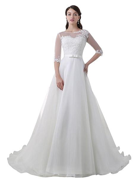 Adasbridal-vestido de novia de Glamorous tul y organza de A- linea de escote