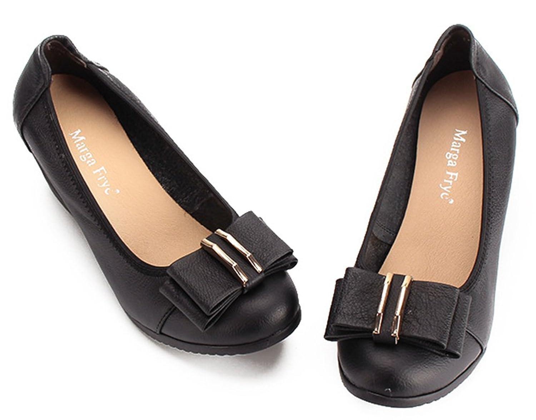 Aisun Women's Soft Slip on Bow Kitten Wedge Heel Court Shoes: Amazon.co.uk:  Shoes & Bags