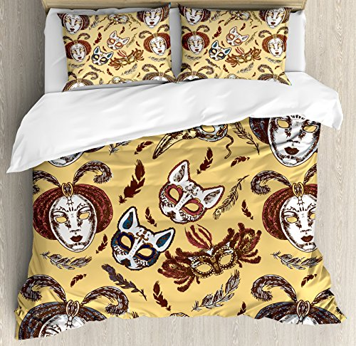 Ambesonne Masquerade Duvet Cover Set King Size, Venetian Style Paper Mache Face Mask With Feathers Dance Event Theme, Decorative 3 Piece Bedding Set with 2 Pillow Shams, Mustard Brown White by Ambesonne