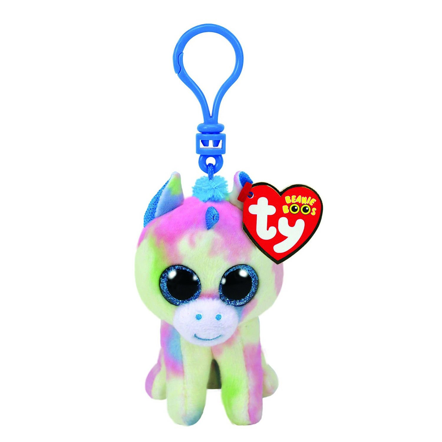Amazon.com  Claire s Girl s TY Beanie Boo Blitz the Unicorn Keyring Clip in  Pink Blue Green  Claire s  Clothing 8ed883b9109