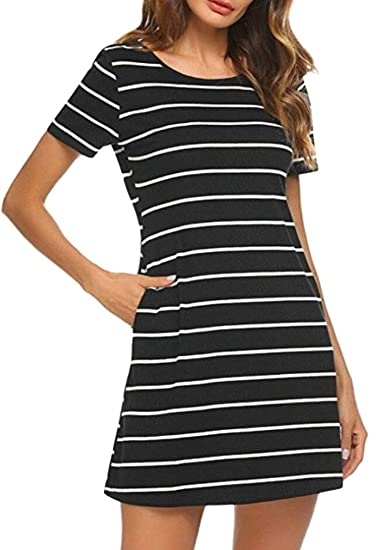 ef324730479 Esast Plus Size T-Shirt Dresses for Women Fashion Stripes Criss Cross Mini  Dresses with Pockets at Amazon Women s Clothing store