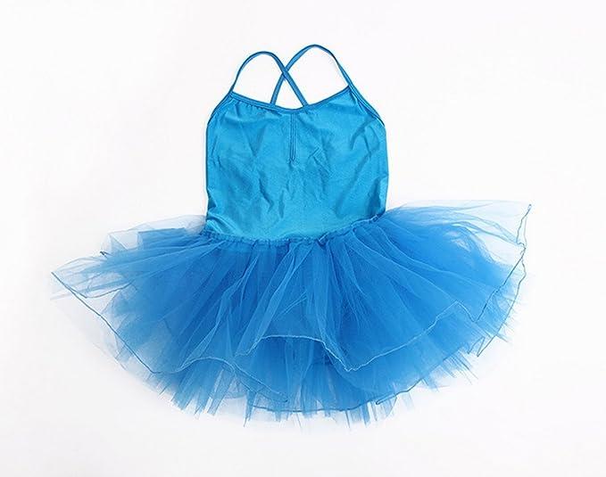 Happy Cherry - Traje de Baile Danza con Falda Corta para Niñas de Algodón Tul 4