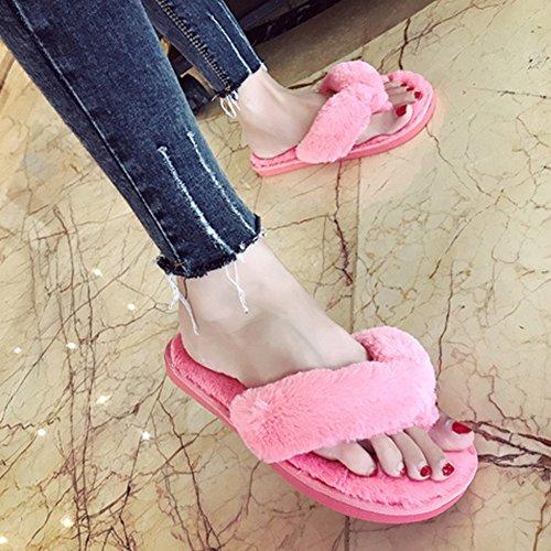 Vrouwen Slippers, Woopower Comfortabele Pluche Spa Thong Antislip Slippers Thuis Schoenen Watermeloen Rood