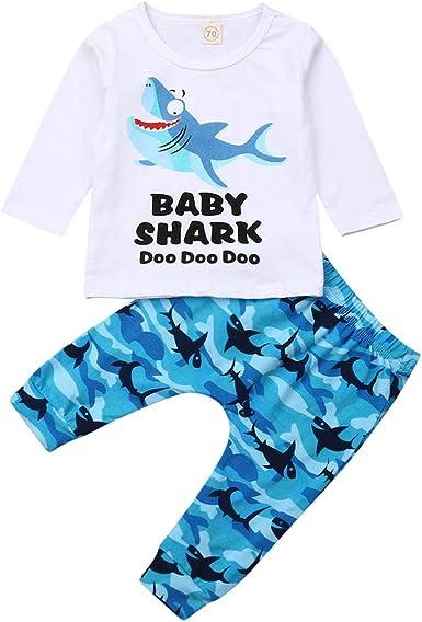 Pants Outfits Set Toddler Baby Boys Shark Clothes Long Sleeve Tops Shirts