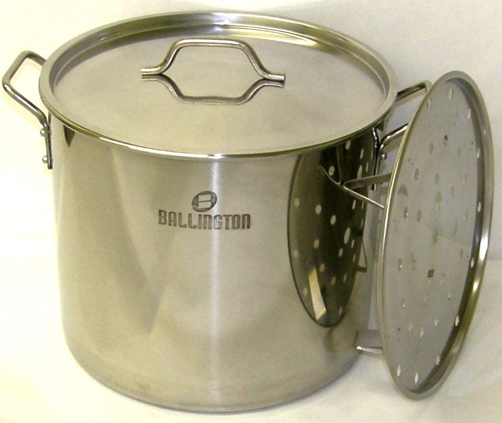 60 Quart Stainless Steel Stock Pot with Rack & Lid by Ballington