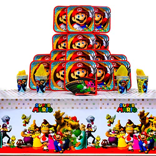 Super Mario Brothers Party Pack Seats 16 - Napkins, Plates, Cups and Tablecloth - Super Mario Brothers Party Supplies, Deluxe Party Pack]()