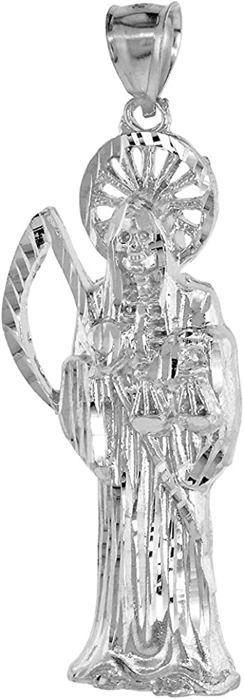 2 3//8 inch Sterling Silver Santa Muerte Necklace for Men Diamond Cut 18-30 inch Chain