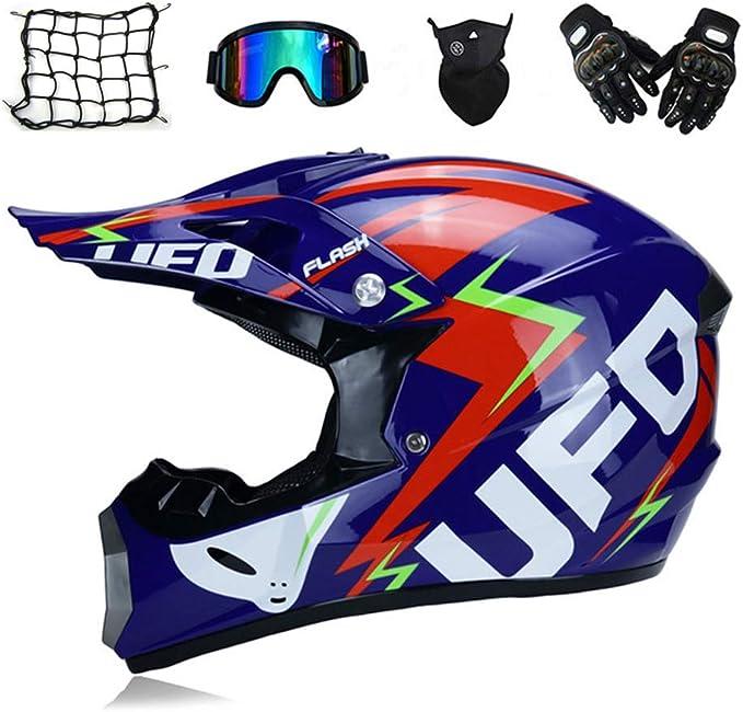 Casco Motocross Adulto (5 Pcs) - Azul/UFO - Casco MTB Enduro ...