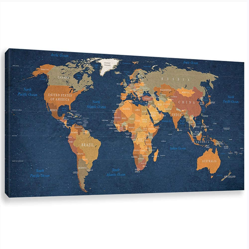Inzlove Blue World Map Wall Art Abstract Prints Paintings on Canvas Contemporary Home Decor Artwork Pictures for Office Decorations