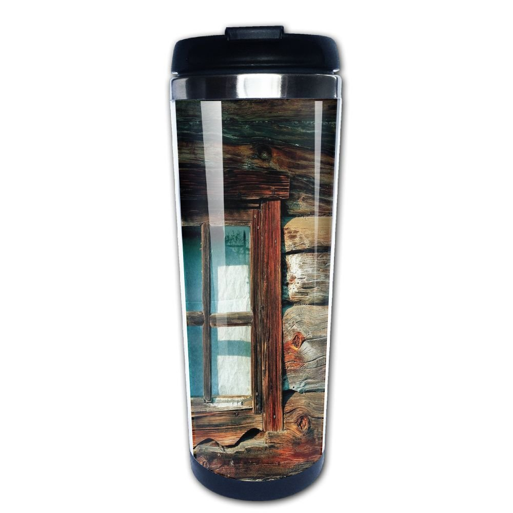 AILIKAFEE Single Window With White Curtain On A Wooden Made Lumberjack House Photo Coffe Mug Thermal Stein With Easy Clean Lid 14-Ounce Mug