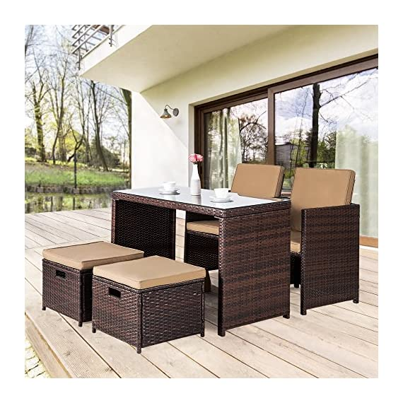 Cloud Mountain Outdoor Dining Set 5 Piece Wicker Furniture Set Patio Bar Set Rattan Table with Chair Ottoman Space Saving Modern Style Easy Assembly Garden Patio Backyard Balcony Lawn (Brown) - ERGONOMIC & EXQUISITE DESIGN: Our 5 piece outdoor dining set is carefully designed complex weave patterns for added strength and durability. The seat height, armrest height and table top height are all elaboratively designed by our professional furniture designer to provide the most comfortable usage experience PREMIUM & HANDCRAFTED MATERIAL: Our 5 piece wicker patio furniture set is crafted with rust-resistant strong steel frame and durable weather-resistant synthetic wicker for years of use. polyester fabric and sponge padded cushions with zipper make you more comfortable. Tempered glass top dining table makes store drinks, wine, snacks easily and durably. Anchor your outdoor entertainment ensemble with this 5 piece bar set so you can fit up at your next backyard clambake AMAZING WICKER LIFE: It's time to replace them with our stylish and affordable wicker sets of high-quality structure. Crafted with aging-treated wicker material to mimic the natural wicker material, just like the light wash jeans. This manually treated wicker is actually more expensive than the bright and smooth one. This outdoor sofa furniture adds handsome decor to your patio, garden, backyard, porch, balcony, pool, etc. - patio-furniture, dining-sets-patio-funiture, patio - 61DyWy%2Bc dL. SS570  -
