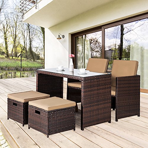 Cloud Mountain Outdoor 5 Piece Rattan Wicker Furniture Bar Set Dining Set Cushioned Patio Furniture Set Space Saving – 1 Patio Dining Table & 4 Conversation Bistro Set, Brown Review