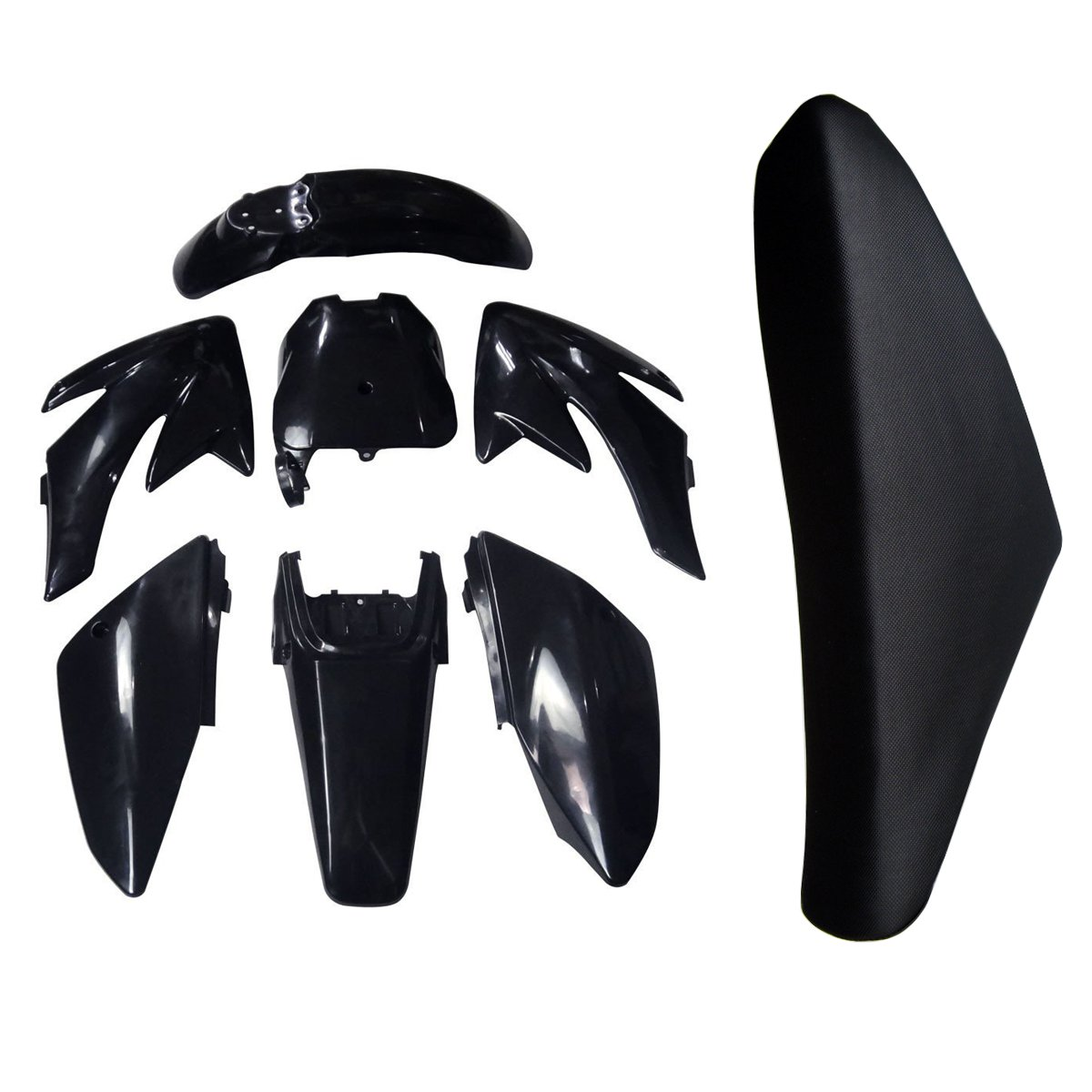 TDPRO Plastic Fairing Kit Fender Parts and Seat for Honda CRF70 CRF 70 Dirt Pit Bike (Black)