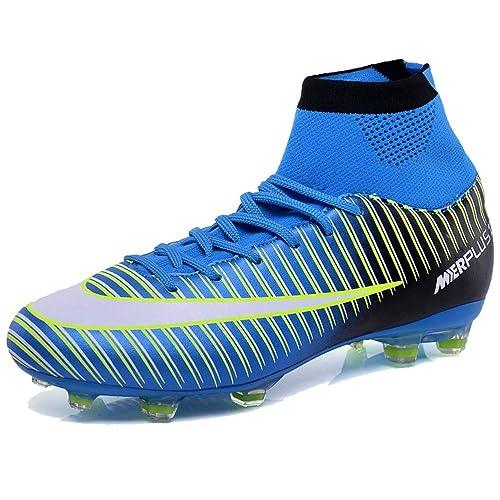 LSGEGO Botas de fútbol para Hombres Zapatos de fútbol con Tacones Altos  Zapatos de Entrenamiento con fb358c5c0bb8e